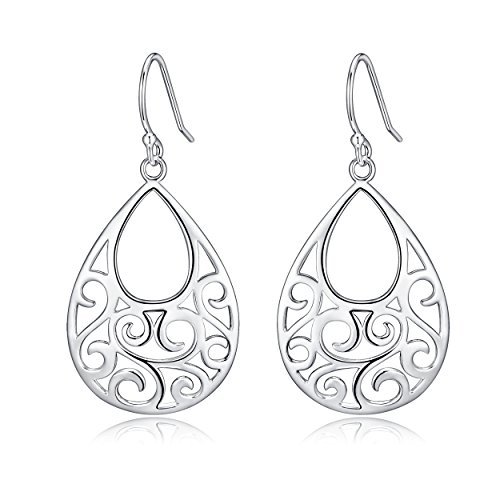 Sterling Silver Filigree Minimalist Design Of Peacock Dangle Drop Earrings For Sensitive Ears By Renaissance Jewelry by RSJewel