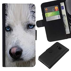 eJoy---La carpeta del tirón la caja de cuero de alta calidad de la PU Caso protector - HTC One M9 - --Light Blue Eyes Muzzle Husky Dog Wet