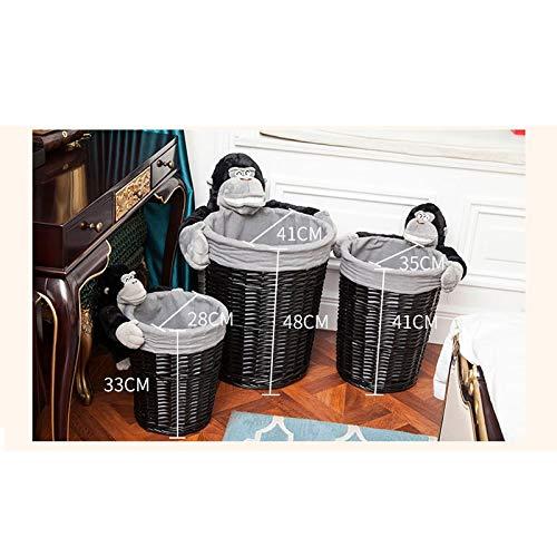 JSSFQK Rattan Storage Basket Cartoon Storage Basket, Dirty Clothes Toy Snack Storage, Black, Three Sizes Storage Box (Size : M) by JSSFQK (Image #2)