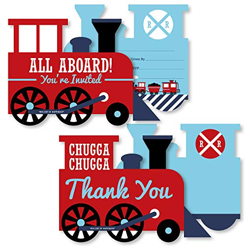 Railroad Party Crossing - 20 Shaped Fill-In Invitations and 20 Shaped Thank You Cards Kit - Steam Train Birthday Party or Baby Shower Stationery Kit - 40 Pack]()