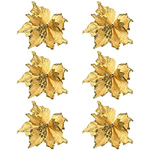 Alapaste 6Pcs Glitter Artificial Gold Flowers Xmas Fake Silk Simulation Flower Wedding Party Decorative Poinsettia Christmas Tree Ornaments 59