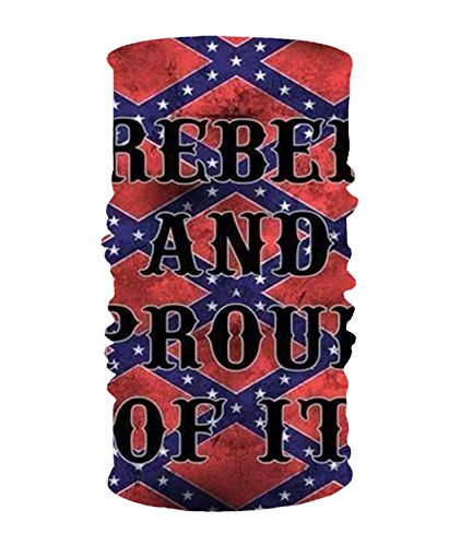 Rebel Bandana (Rebel And Proud Of It 16-in-1 Magic Scarf,Face Mask,Balaclava Bandana for outdoor sports)