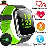 Duperym Smart Watch with Blood Pressure Heart Rate Monitor Men Women Wrist Wearable Watch for Boy Girl Sports Outdoors Activity Tracker Sync Call SMS for Android iPhone