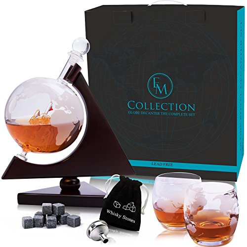 Whiskey Globe Decanter Set w/Triangular Wooden Stand, cooling stones, glasses, Bar Funnel & Cork: Satisfy Your Elegant Taste! Handmade Gift for Bourbon, Scotch, Sherry, Cognac, Brandy & Liquor Lovers