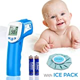 Baby Thermometer - Forehead Thermometer for Fever by SOVARCATE - Accurate Dual Mode Professional Medical Body Fever Thermometers for Baby, Kid and Adult | Cooling Bag Included