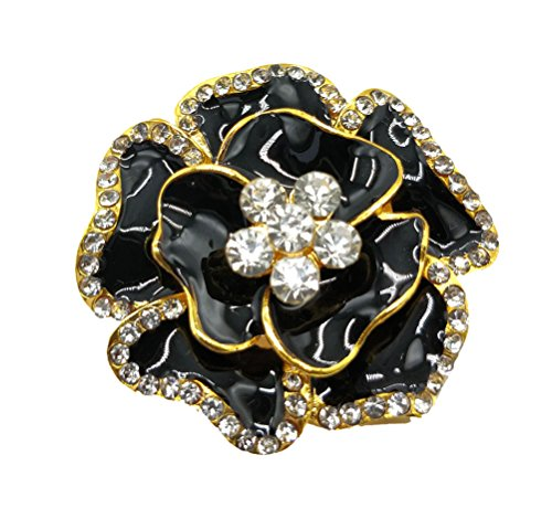 Women Brooch Pin Rose Flower Camellia Inlay Crystal Vintage Style Dress Party Wedding (A Black Rose Flower Gold) ()