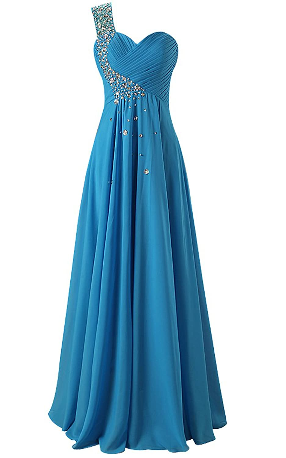 MicBridal? Womens One Shoulder Ruched Padded Long Chiffon Evening Dress