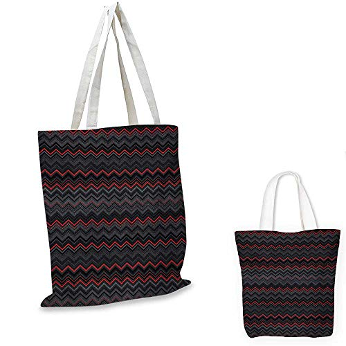 (Red and Black non woven shopping bag Zigzag Chevron Design with Bold Thin Layers Print fruit shopping bag Pale Grey Charcoal Grey and Scarlet. 16