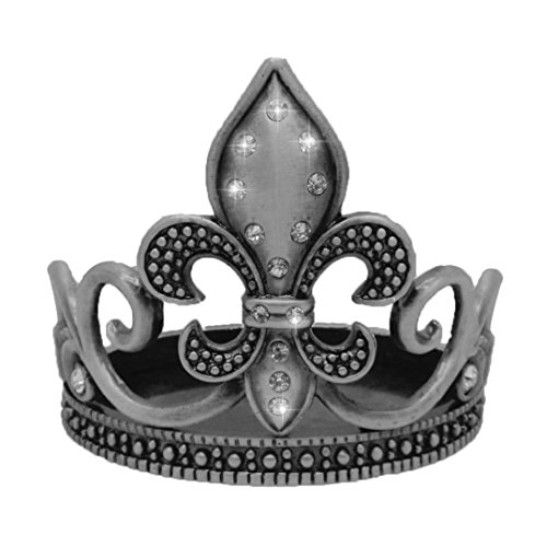 Pewter Coaster (Candle Holder/Wine Coaster - Fleur de Lis Design -Pewter w/Crystals)