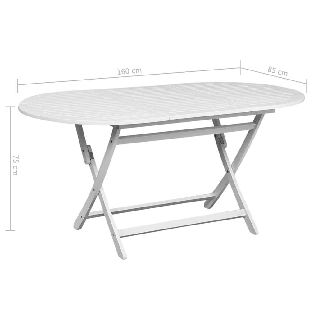Festnight Tavolo da Pranzo per Esterno in Legno Acacia Ovale Bianco,Tavolo da Giardino Pieghevole in Legno 160x85x75 cm