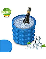 iRookie Silicone Ice Cube Maker Genie - Revolutionary Space Saving Ice Cube Molds - Ice bucket for Chilling Whiskey, Cocktail, Beverages