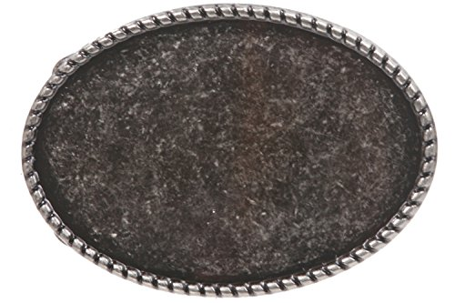Western Plain Oval Hammered Vintage Belt Buckle, Antique Silver