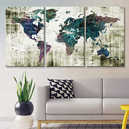"Original by BoxColors LARGE 30""x 60"" 3 panels 30x20 Ea Art Canvas Print Watercolor Green blue purple Old Map World Push Pin Travel Wall home decor (framed 1.5"" depth) M1806 from BoxColors"