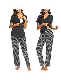 European and American Striped Short-Sleeved Summer Nursing Pajama Set Pregnancy Sleepwear Maternity Wear,Black,XL