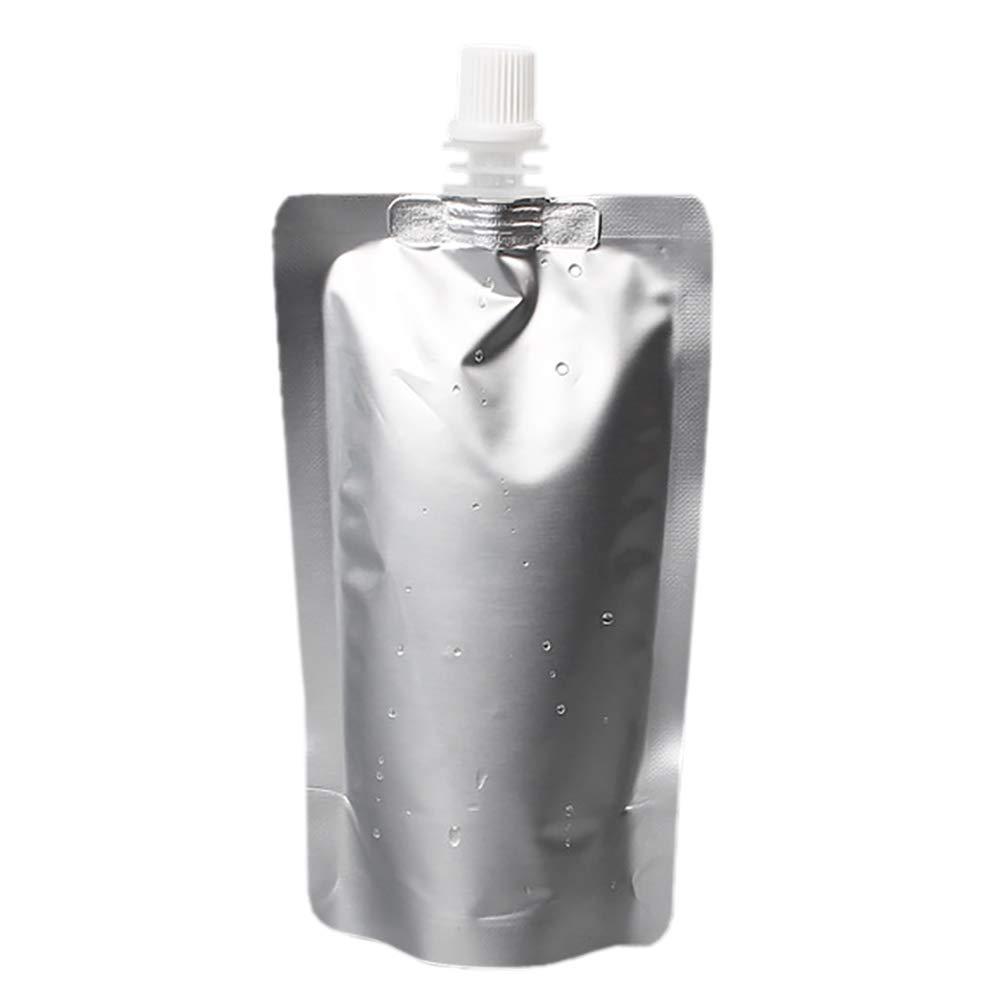 (Price/50 PCS) Aspire Foil Spouted Stand up Pouch, Juice Pouches (3.5oz - 68 oz), FDA Compliant, BPA Free-Silver-5 oz