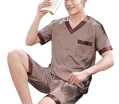 (Respeedime Ice Silk Pajamas for Men Short-Sleeved Sleepwear Pyjamas Loungewear Sleep Set)