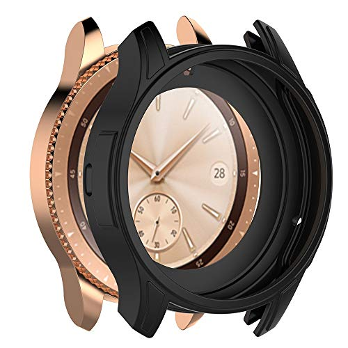 Aloena Samsung Watch Case 42mm, Soft TPU Protection Silicone Full Case Cover For Samsung Galaxy Watch 42MM (Black❤️)