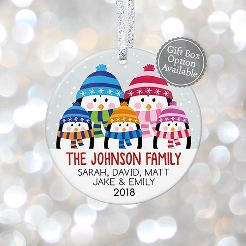 (Personalized Family of Five Christmas Ornament 2019, Whole Family Name Sign Family Tree, Gift for Grandparents Keepsake - 3