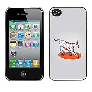 Cubierta de la caja de protección la piel dura para el Apple iPhone 4 / 4S - Cool Cat Art Wild Bobcat Color Paws