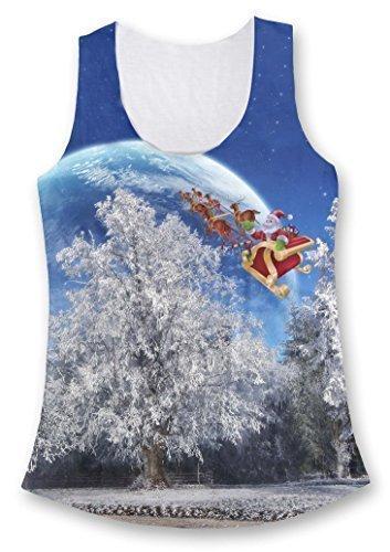 Santa Ciervo Equitación To The Moon Moda Mujer Camiseta De Tirantes Multicolor