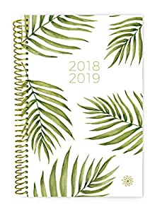 """Bloom Daily Planners 2018-2019 Academic Year Day Planner - Monthly and Weekly Calendar Book - Inspirational Dated Agenda Organizer - (August 2018 - July 2019) - 6"""" x 8.25"""" - Palm Leaves"""