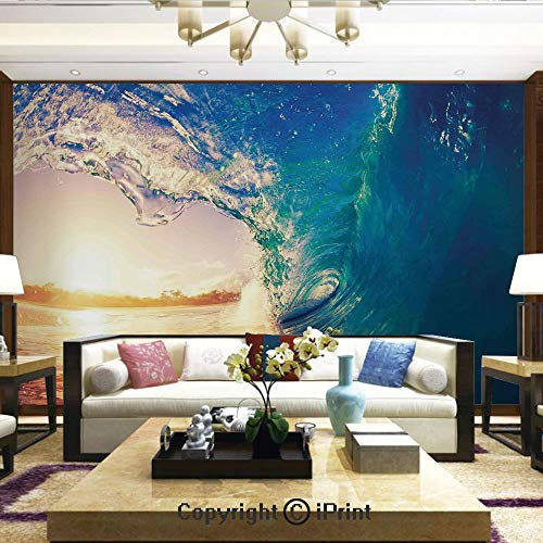 Lionpapa_mural Removable Wall Mural | Self-Adhesive Large Wallpaper,Ocean Wave at Sunrise Reflection on Surface Tropical Trees Shoreline Summertime Picture,Home Decor - 66x96 inches