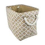 """DII Collapsible Burlap Storage Basket or Bin with Durable Cotton Handles, Home Organizational Solution for Office, Bedroom, Closet, Toys, Laundry (Large – 18x12x15""""), White Lattice Outline"""