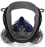 Full Face Respirator, Gas Masks with Double Air filter, Respiratory Protection widely used in Paint, Pesticide, Chemical, etc Toxic Environments (Black)