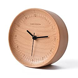 belaDESIGN Handmade Black Walnut Wood Round Point Dot Silent Table Alarm Clock