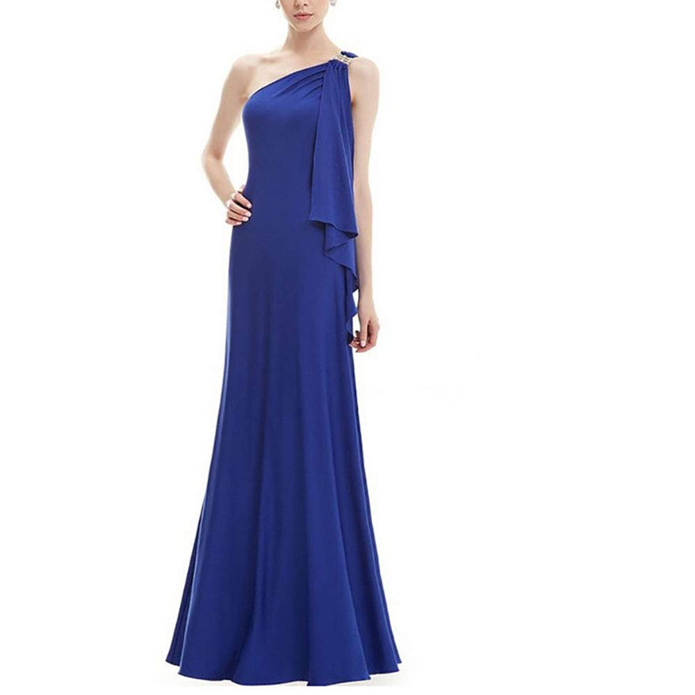 bluee Retro Party Dress Women's Sleeveless VNeck One Shoulder Evening Gown Bridesmaids Dress (color   Wine red, Size   L)