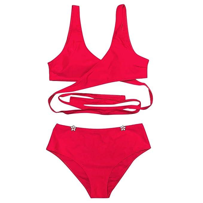 f7d1b1cdf7b6 Whitegeese Mujer Traje de baño Ropa de Playa 2 Piezas Sólido Vendaje ...