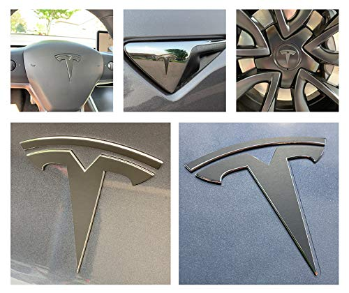 Custom Cut Graphics Tesla Model 3 Logo Decal Wrap (Matte Black)