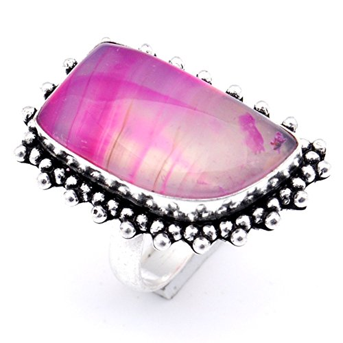 Delicate! Handmade Jewelry! Pink Botswana Agate Sterling Silver Overlay Ring Size 8 US