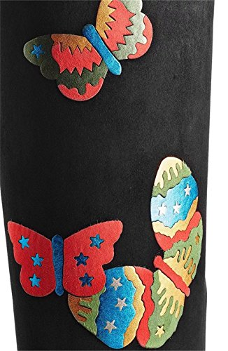 NVXIE Women's Ladies Over Knee Thigh Boot Long Boots Mid Rough Heel Pointed Toe Butterfly Printing Scrub Black Fall Winter EUR44UK10 6vnwd