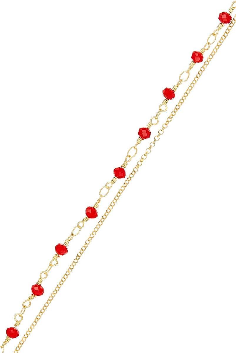 Córdoba Jewels |Pulsera de Plata de Ley 925 con Swarovski con diseño Swarovski Rubi Cadena Gold