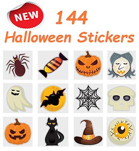 Pack of 144 Halloween Pumpkin Stickers, 12 Assorted