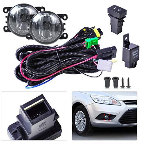 Loune Week Barn Lighting Black Wiring Harness Sockets + Switch + 2 Fog Lights H11 Lamp 12V 55W Kit for Ford Mustang Lincoln Navigator Subaru Outback ()