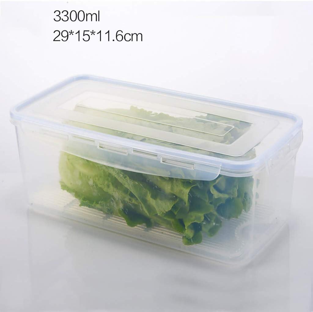 Botes herm/éticos Contenedores de Alimentos Caja de conservaci/ón de Alimentos Caja de Almacenamiento de refrigeradores con Placa de Drenaje Caja de Almacenamiento Transparente 3 Colores
