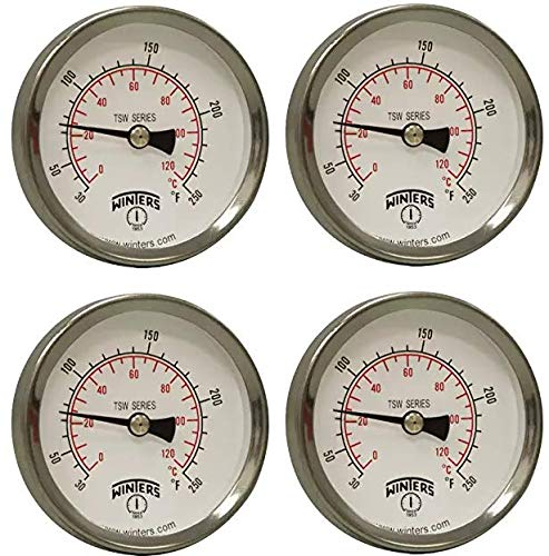 Winters TSW Series Aluminum Dual Scale Hot Water Thermometer, Dial Type, 2-1/2'' Dial, 1/2'' NPT Center Back Mount, 30-250 F/C Range (Fоur Расk)