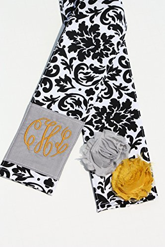 DSLR Camera Strap Cover- lens cap pocket and padding included- Shabby Chic  Monogrammed Black is the New Black/ Mustard and Grey