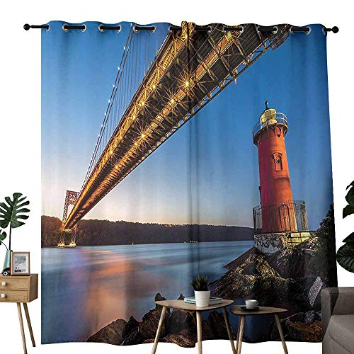 (Apartment Decor Collection Windshield Curtain George Washington Bridge and Lighthouse on The Hudson River in New York Picture Set of Two Panels W108 x L84 Blue Bright Gold)
