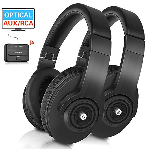Wireless TV Headphones - Pohopa W239 2.4GHz Over Ear Stereo Headphone 2 Packs for TV Watching with Transmitter(Digital Optical, AUX, RCA), Compatible Samsung LG Sony Toshiba Philips TCL ect TVS