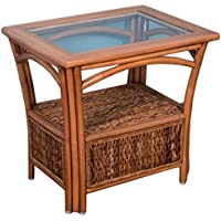Alexander & Sheridan PAN021-AH Panama End Table in Antique Honey Finish with Glass