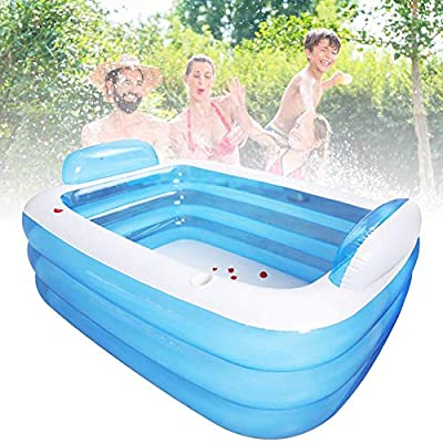 Full-Sized Family Inflatable Swimming Pool,Thickened Inflatable Pool 3-Ring Inflatable Lounge Pool Summer Backyard for Family Adult,Kids,Babies: Home Improvement