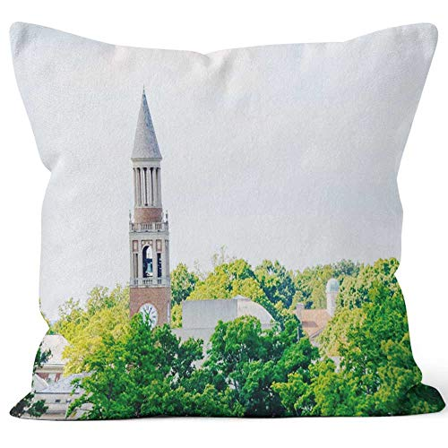 University of North Carolina Bell Tower Burlap Pillow Home Decor Throw Pillow Cover,HD Printing Cotton Linen Cushion for Couch Sofa Bedroom Livingroom Kitchen Car - Linens North Carolina University