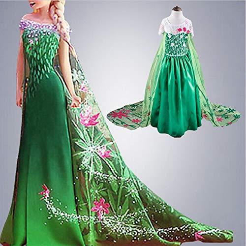 PAPKING Queen Elsa Anna Costume Girl Kids Toddler Frozen Inspired Fancy Dress Cosplay (9 Years) ()