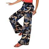 Women Wide Leg Clubwear Pants,Jchen Ladies Elastic Waist Leaves Flower Print Summer Casual Bell-Bottom Pants Beach Trousers (L/US:8, Black)