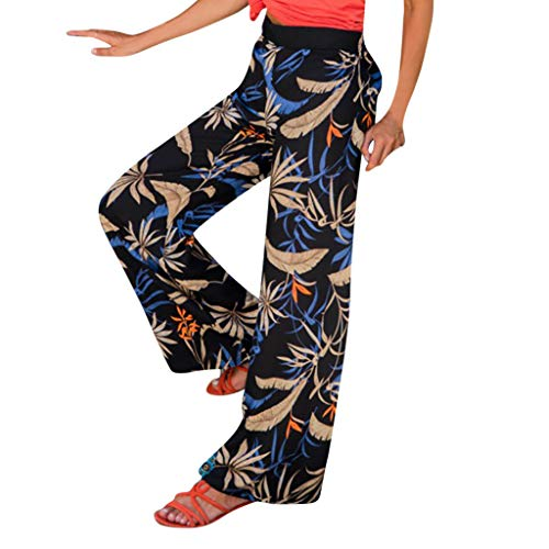Pervobs Women Summer Floral Printing Loose Comfort High Waist Wide Leg Pants Leggings Trouser(S, Black) by Pervobs Women Pants (Image #9)