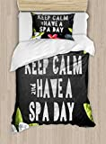 Ambesonne Zen Twin Size Duvet Cover Set, Keep Calm Have a Spa Day Quote Healthcare and Beauty Treatment Graphic Stones Flowers, Decorative 2 Piece Bedding Set with 1 Pillow Sham, Multicolor