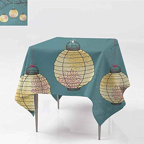 DILITECK Fabric Dust-Proof Table Cover Lantern Three Paper Lanterns Hanging on Branches Lighting Fixture Source Lamp Boho Picnic W50 xL50 Teal Light Yellow -